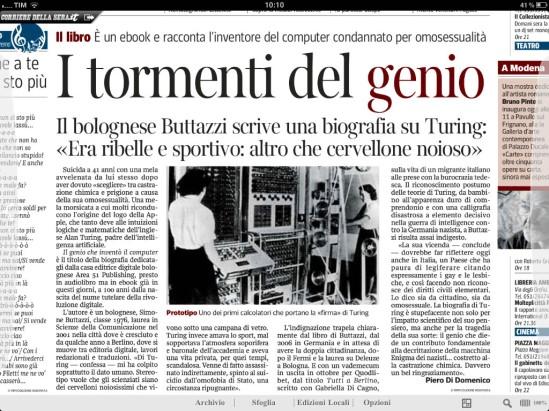 Alan Turing - articolo di Piero Di Domenico uscito sul Corriere della sera edizione di Bologna